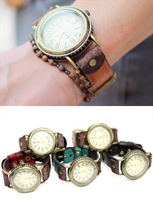7181 - Vintage Leather Strap Clock <br> (5 color) <br>