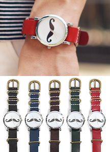 7441 - Mustache Leather Watch <br> (5 color) <br>