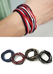 7698 - layered Suede bracelet <br> (4 color) <br>