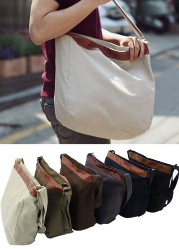 3401 - B113 / canvas color leather cross bag <br>