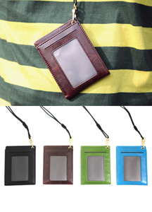 13131 - Leather Necklace Card Wallet <br> (4 color) <br>