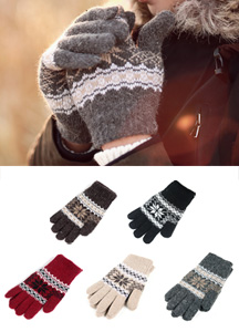 13595 - Snow blossom knitted gloves <br> (5 color) <br>
