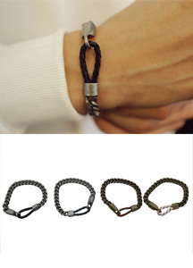 14267 - Leather chain bracelet <br> (4 color) <br>
