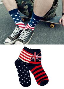 15646 - Vintage Flag socks <br> (2 color) <br>