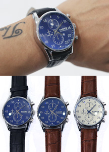 16219 - Color combination key point leather watch <br> (3 color) <br>