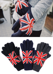 16260 - British flag key point brushed gloves <br> (3 color) <br>