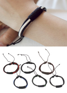 17981 - two tone leather bracelet <br> (6 color) <br>