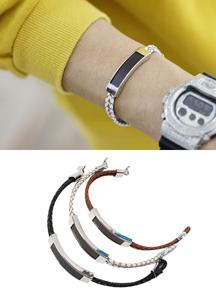 18011 - Cross leather bracelet <br> (3 color) <br>
