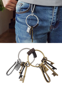 18013 - Antique leather keyring <br> (2 color) <br>