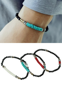 18066 - Three color one-tone beads bracelet <br> (3 color) <br>