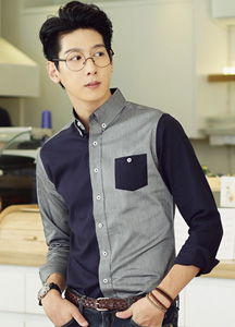 18067 - Trendy color combination casual shirt <br> (3 size) <br>