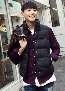 18504 - color combination Snap button Basic Padded vest <br> (2 size) <br>
