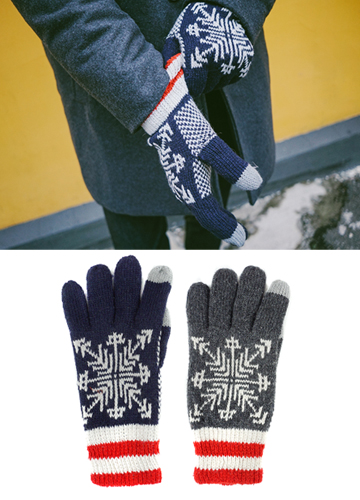 18649 - snowflake knitted gloves <br> (2 color) <br>