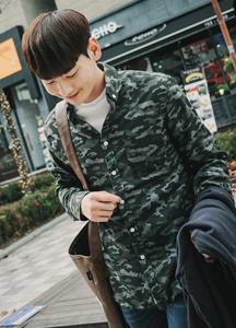 18664 - [HONZE] <br> Camo pocket wool shirt <br> (4 size) <br>