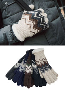 18674 - Ethnic knitted gloves <br> (5 color) <br>