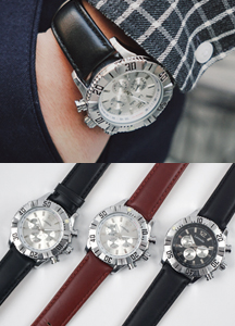 18763 - Bold metal leather watch <br> (3 color) <br>