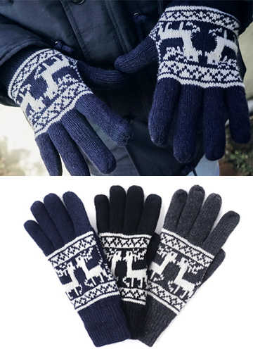18782 - Deer Pattern Touch Gloves <br> (3 color) <br> <FONT color=#990000><b><Fur lining></b></font> <BR>