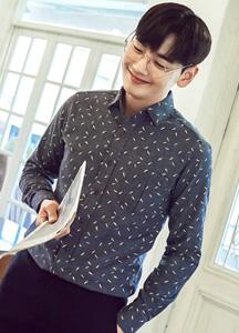 18791 - [HONZE] <BR> Leaf Printing Brushed Shirt <BR> (4 size) <BR>