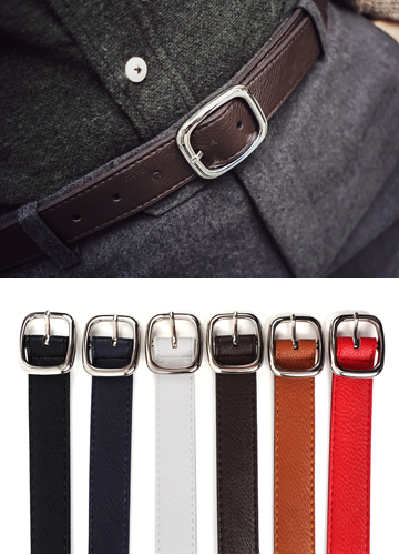 18825 - Round square slim belt <br> (6 color) <br>