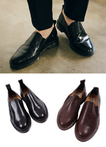 18995 - Slip Leather Loafers <br> (10 mm) <br>