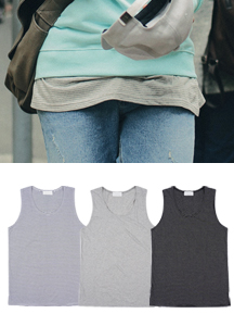 19071 - Layered Ribbon T-shirt Sleeveless shirts <br> (2 size) <br>