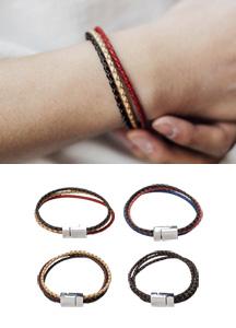 19199 - Twiddle Leather Magnet Bracelet <br> (4 type) <br>