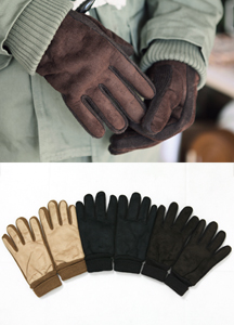 6532 - Suede knitted gloves <br> (3 color) <br>
