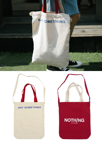 19391 - Lettering color combination tote bag <br>