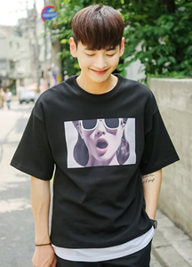 19500 - Women's Face Short T Shirts <br> (1 size) <br><layered 안감><BR>