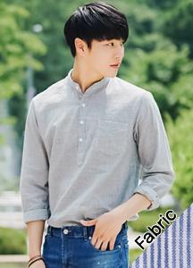 19659 - Narrow Linen Henry Neck Shirt <br> (2 size) <br>