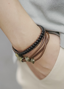 Space leather bracelet
