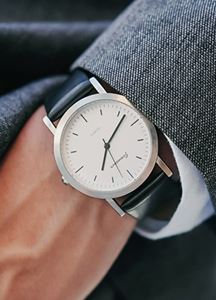 Silver Flat Leather Watch