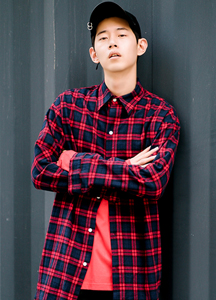 20041 - Round Check Long shirt <br> (2 szie) <br>