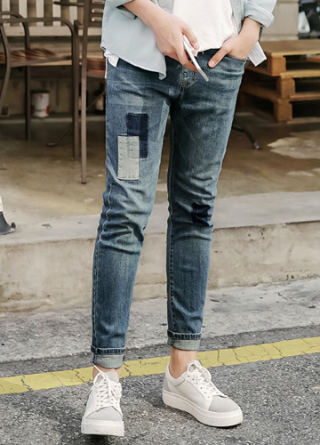 20280 - Patchwork Banding Denim Pants <br> (4 size) <br>