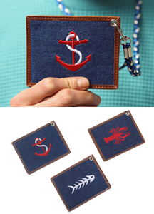 6756 - Embroidery Card Necklace <br> (3 color) <br>