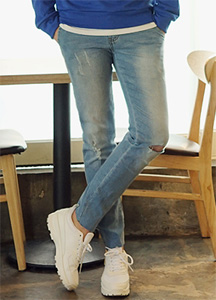 20906 - Slash Cutting Crop Jeans <br> (3 size) <br>