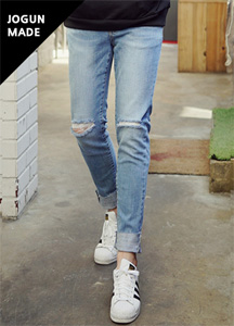 20950 - Slitter Cutting Denim Pants <br> <font style=font-size:11px;color:#595959>28/30/32/34/36</font> <br> <font color=#db1b1b><b>'blue, deep blue' color added!</b></font> <br>