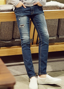 20988 - Square stitch Denim Pants <br> (4 size) <br>