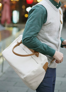 21100 - Step Cotton Boston Bag <br>