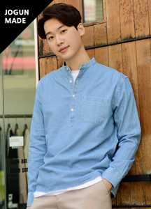 21106 - Daily Henry neck denim shirt <br> (3 size) <br>