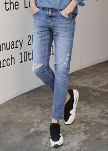 21132 - Vintage Knee Cutting Damage Jeans <br> (4 size) <br>