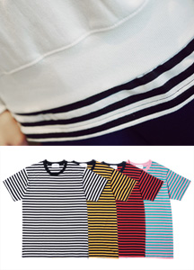 21144 - STRIPE layered Long Short T shirts <br> (3 size) <br>