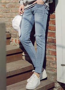 21233 - One-point cutting Denim Pants <br> (3 size) <br>