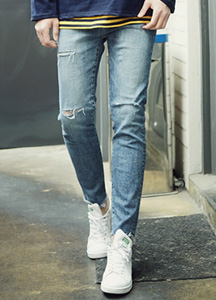 21252 - Triple cutting Denim Pants <br> (4 size) <br>