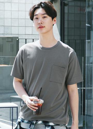 21264 - Pocket Incision Round Short T shirts <br> (1 size) <br>