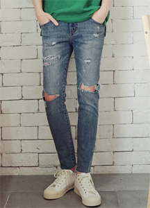 21292 - Cross Over Damage Jeans <br> (4 size) <br>