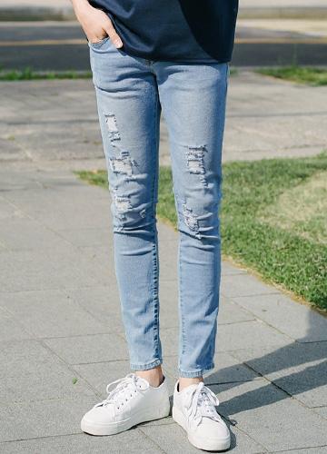 21307 - Walker Damage Denim Pants <br> (5 size) <br>