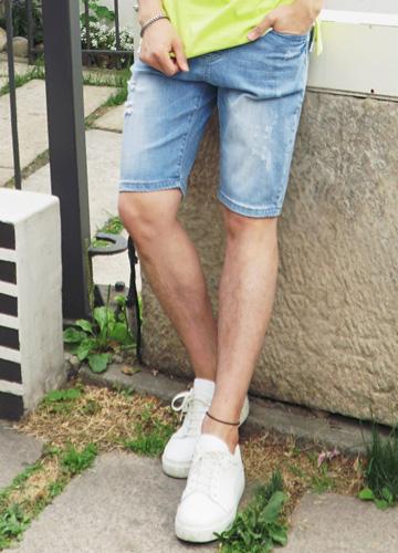 21396 - minimum Banding Denim Half Pants <br> (4 size) <br>