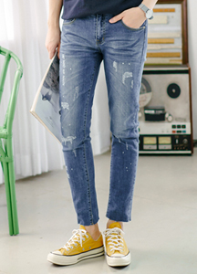 21408 - Paint Up Cutting Damage Jeans <br> (4 size) <br>