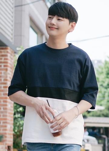 21448 - Side zipper color combination Short T shirts <br> (3 size) <br>